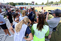 Cary, North Carolina  - Saturday August 19, 2017: North Carolina Courage players and staff during the second half Hydration Break during a regular season National Women's Soccer League (NWSL) match between the North Carolina Courage and the Washington Spirit at Sahlen's Stadium at WakeMed Soccer Park. North Carolina won the game 2-0.