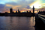 A view of Parliament and Big Ben from the South Bank of the River Thames.
