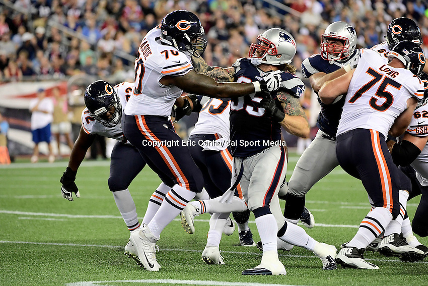 Thursday, August 18 2016: New England Patriots defensive end Chris Long (95) blocks Chicago Bears tackle Bobby Massie (70) during a pre-season NFL game between the Chicago Bears and the New England Patriots held at Gillette Stadium in Foxborough Massachusetts. The Patriots defeat the Bears 23-22 in regulation time. Eric Canha/Cal Sport Media
