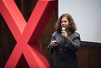"""Valerie D'Costa, head of infoDev at the World Bank, talks about """"Think Circles, not Pyramids.""""<br /> Occidental College's second TEDx event, Choi Auditorium, April 2, 2016. Featuring talks on sustainability and global development by speakers that included five students, a faculty member and seven external speakers.<br /> (Photo by Marc Campos, Occidental College Photographer)"""