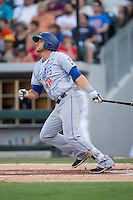 Travis Taijeron (18) of the Las Vegas 51s follows through on a 2-run home run in the top of the second inning at the 29th Annual Triple-A All-Star Game at BB&T BallPark on July 13, 2016 in Charlotte, North Carolina.  The International League defeated the Pacific Coast League 4-2.   (Brian Westerholt/Four Seam Images)