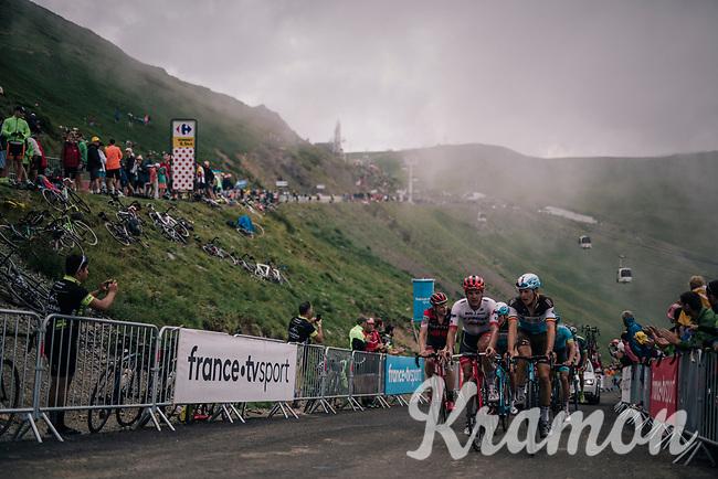 first grupetto (including belgians Jasper Stuyven & Oliver Naesen) up the brutal Col du Portet (HC/2250m/16km at 8.7%/Souvenir Henri Desgrange) in this historically short stage (only 65km)<br /> <br /> Stage 17: Bagnères-de-Luchon > Saint-Lary-Soulan (65km)<br /> <br /> 105th Tour de France 2018<br /> ©kramon