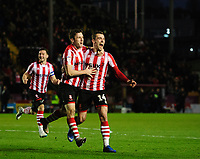 Lincoln City's Shay McCartan, left, celebrates scoring the opening goal with team-mate Harry Toffolo<br /> <br /> Photographer Chris Vaughan/CameraSport<br /> <br /> The EFL Sky Bet League Two - Lincoln City v Port Vale - Tuesday 1st January 2019 - Sincil Bank - Lincoln<br /> <br /> World Copyright &copy; 2019 CameraSport. All rights reserved. 43 Linden Ave. Countesthorpe. Leicester. England. LE8 5PG - Tel: +44 (0) 116 277 4147 - admin@camerasport.com - www.camerasport.com