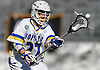 Brendan Kavanagh #27 of Hofstra University takes a pass during an NCAA Division I men's lacrosse game against Monmouth at Shuart Stadium in Hempstead, NY on Saturday, Feb. 18, 2017. He scored three goals in Hofstra's 11-9 win.