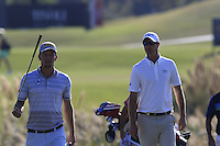 Marcel Siem (GER) and Nicolas Colsaerts (BEL) walk to the 13th green during Thursday's Round 1 of the 2016 Portugal Masters held at the Oceanico Victoria Golf Course, Vilamoura, Algarve, Portugal. 19th October 2016.<br /> Picture: Eoin Clarke | Golffile<br /> <br /> <br /> All photos usage must carry mandatory copyright credit (&copy; Golffile | Eoin Clarke)