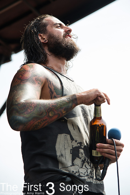 Jonny Davy of Job for a Cowboy performs during the 2013 Mayhem Festival at Klipsch Music Center in Indianapolis, Indiana.