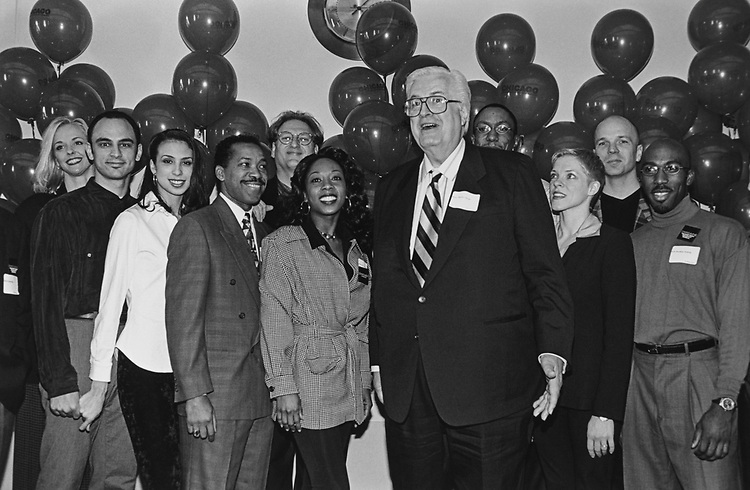 Rep. Henry Hyde, R-Ill., with the cast of Chicago on April 8, 1997. (Photo by Laura Patterson/CQ Roll Call via Getty Images)