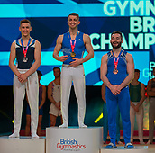 17th March 2019, M&S Arena, Liverpool, England; Gymnastics British Championships day 4;  Men's Artistic Masters Pommel Final medallists L to R STEELE Adam, Pipers Vale Gymnastics Club, WHITLOCK MBE Max, South Essex Gymnastics Club, HALL James, Pegasus Gym Club