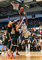 WASHINGTON, DC - JANUARY 29: Hyunjung Lee #1 of Davidson defends against Armel Potter #2 of George Washington during a game between Davidson and George Wshington at Charles E Smith Center on January 29, 2020 in Washington, DC.
