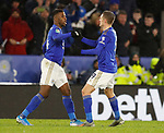 Kelechi Iheanacho of Leicester City celebrates scoring the equaliser with Jamie Vardy of Leicester Cityduring the Carabao Cup match at the King Power Stadium, Leicester. Picture date: 8th January 2020. Picture credit should read: Darren Staples/Sportimage
