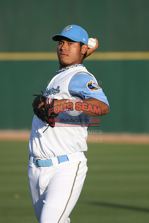 Myrtle Beach Pelicans pitcher Wilmer Font #36 throwing before a game against the Potomac Nationals at Tickerreturn.com Field at Pelicans Ballpark on April 11, 2012 in Myrtle Beach, South Carolina. Potomac defeated Myrtle Beach by the score of 6-3. (Robert Gurganus/Four Seam Images)