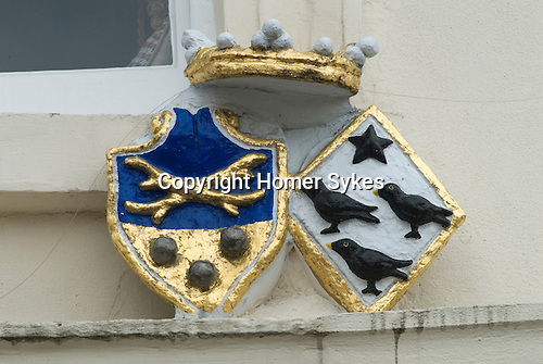 Christopher Wren. Coats of Arms above the doorway of the house that Christopher Wren lived in  while building St Pauls Cathedral London UK