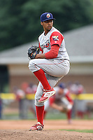 Williamsport Crosscutters pitcher Jesen Therrien (28) delivers a pitch during a game against the Batavia Muckdogs on July 27, 2014 at Dwyer Stadium in Batavia, New York.  Batavia defeated Williamsport 6-5.  (Mike Janes/Four Seam Images)