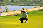 30 August 2009: Heath Slocum lines up his putt on the 18th hole during the final round of The Barclays PGA Playoffs at Liberty National Golf Course in Jersey City, New Jersey.
