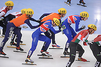 "SHORT TRACK: MOSCOW: Speed Skating Centre ""Krylatskoe"", 14-03-2015, ISU World Short Track Speed Skating Championships 2015, Semifinals Relay Men, Sjinkie KNEGT (#148), Mark PRINSEN (#149), NETHERLANDS, GREAT BRITAIN, ©photo Martin de Jong"