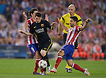 Vicente calderon Stadium. Madrid. Spain. 09/04/2014. Match between Barcelona and Atletico Madrid, Champions League. The image shows: Leo Messi and Diego Ribas