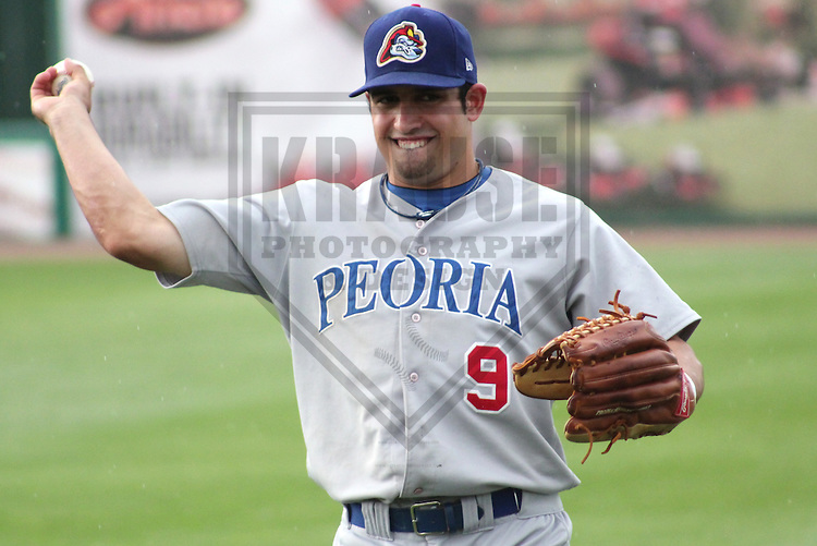 APPLETON - JUNE 2011: Anthony Giansanti (9) of the Peoria Chiefs, Class-A affiliate of the Chicago Cubs, during a game on June 27, 2011 at Fox Cities Stadium in Appleton, Wisconsin. (Photo by Brad Krause)..........