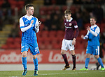 St Johnstone v Hearts&hellip;23.12.17&hellip;  McDiarmid Park&hellip;  SPFL<br />Stefan Scougall applauds the fans as he is subbed<br />Picture by Graeme Hart. <br />Copyright Perthshire Picture Agency<br />Tel: 01738 623350  Mobile: 07990 594431