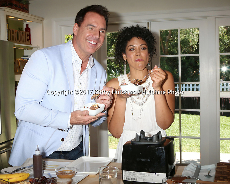 """LOS ANGELES - APR 14:  Mark Steines, Karla Mosley at the """"Home and Family"""" Celebrates """"Bold and Beautiful's"""" 30 Years at Universal Studios Back Lot on April 14, 2017 in Los Angeles, CA"""