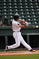 Second baseman Nick Lovullo (36) of the Greenville Drive bats in game one of a doubleheader against the Rome Braves on Tuesday, May 30, 2017, at Fluor Field at the West End in Greenville, South Carolina. Rome won, 10-7. (Tom Priddy/Four Seam Images)