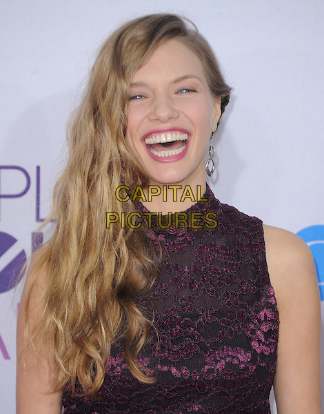 Tracy Spiridakos.The 2013 People's Choice Awards held at Nokia Live in Los Angeles, California 9th January 2013                                                                   .headshot portrait smiling laughing lace purple sleeveless black.CAP/DVS.©DVS/Capital Pictures.