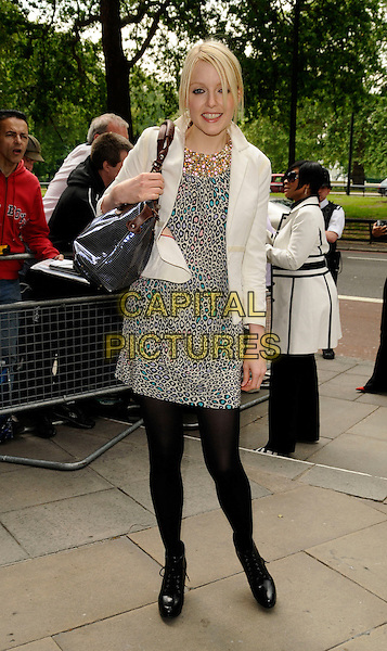 LAUREN LAVERNE.The Ivor Novello Awards, Grosvenor House, Park Lane, London, England..May 22nd, 2008.full length white dress leopard print jacket black tights boots bag purse .CAP/CAN.©Can Nguyen/Capital Pictures.