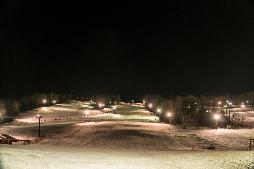Marquette Mountain ski area at night, Marquette, Michigan.