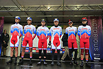 Team Russia at sign on before the Men Elite Road Race of the UCI World Championships 2019 running 280km from Leeds to Harrogate, England. 29th September 2019.<br /> Picture: Eoin Clarke | Cyclefile<br /> <br /> All photos usage must carry mandatory copyright credit (© Cyclefile | Eoin Clarke)