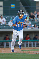 Myrtle Beach Pelicans infielder Pin-Chieh Chen (5) running to first base during a game against the Potomac Nationals at Ticketreturn.com Field at Pelicans Ballpark on May 23, 2015 in Myrtle Beach, South Carolina.  Myrtle Beach defeated Potomac 7-3. (Robert Gurganus/Four Seam Images)