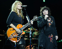 HOLLYWOOD FL - NOVEMBER 4 :  Nancy Wilson and Ann Wilson of Heart perform at Hard Rock live held at the Seminole Hard Rock hotel & Casino on November 4, 2012 in Hollywood, Florida.  Credit: mpi04/MediaPunch Inc. .<br />