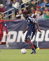 New England Revolution midfielder Shalrie Joseph (21) at midfield. Real Salt Lake defeated the New England Revolution, 2-1, at Gillette Stadium on October 2, 2010.