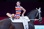 Vaulter Balazs Bence and his horse Hot Date Tek during Madrid Horse Week at Ifema in Madrid, Spain. November 26, 2017. (ALTERPHOTOS/Borja B.Hojas)