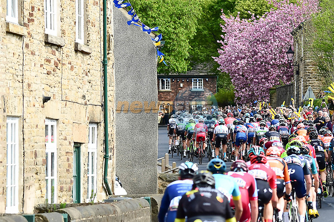 The peleton in action during Stage 2 of the Tour de Yorkshire 2018 running 149km from Barnsley to Ilkley, England. 4th May 2018.<br /> Picture: ASO/Alex Broadway | Cyclefile<br /> <br /> <br /> All photos usage must carry mandatory copyright credit (© Cyclefile | ASO/Alex Broadway)