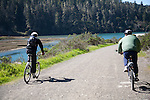 Bike riding an old logging road along Big River near Mendocino.  The trail is now part of the California State Park system.