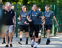 20170717 - RIJEN , NETHERLANDS :  Belgian Justien Odeurs (middle)  pictured during a training session of the Belgian national women's soccer team Red Flames on the pitch of Rijen , on Tuesday 18 July 2017 in Rijen . The Red Flames are at the Women's European Championship 2017 in the Netherlands. PHOTO SPORTPIX.BE | DAVID CATRY