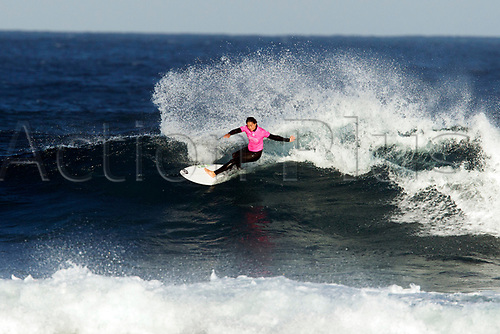 April 2nd 2017, Margaret River,  Perth, Western Australia;   The Drug Aware Margaret River Pro Surfing Competition; Malia Manuel (HAW) cuts back on a wave during heat 2 on day 5 against Johanne Defay (USA); Manuel won the heat