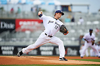 Pensacola Blue Wahoos pitcher Layne Somsen (12) delivers a pitch during the second game of a double header against the Biloxi Shuckers on April 26, 2015 at Pensacola Bayfront Stadium in Pensacola, Florida.  Pensacola defeated Biloxi 2-1.  (Mike Janes/Four Seam Images)