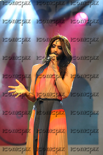 CONCHITA WURST - the 2014 Eurovision Winner from Austria - performing live at Pride London in Trafalgar Square London UK - 28 Jun 2014.  Photo credit: Zaine Lewis/IconicPix