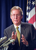United States Senator Mitch McConnell (Republican of Kentucky) meets reporters after leading Republican filibuster for the fourth straight year to kill the proposal known as McCain-Feingold that would overhaul the nation's campaign finance laws, in the US Capitol in Washington, DC on October 19, 1999.  The bill would have banned soft money and would have allowed nonunion members to stop labor unions from spending their mandatory dues on political activities.<br /> Credit: Ron Sachs / CNP