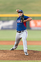 AZL Rangers relief pitcher Tyler Cohen (55) delivers a pitch during an Arizona League playoff game against the AZL Cubs 1 at Sloan Park on August 29, 2018 in Mesa, Arizona. The AZL Cubs 1 defeated the AZL Rangers 8-7. (Zachary Lucy/Four Seam Images)