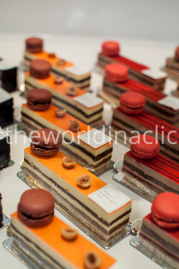FRANCE, Paris, Orange and Red cakes by Aoki, French- Japanese Patisserie