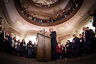 Jan. 18, 2016; Fr. John Jenkins, C.S.C. gives introductory remarks before a midnight prayer service at the Main Building rotunda in honor of the Rev. Martin Luther King Jr. holiday.  The service was the inaugural event of a campus-wide Walk the Walk Week observance, during which students, faculty and staff have been asked to reflect on the values central to Martin Luther King Jr.'s legacy and the mission of Notre Dame. (Photo by Matt Cashore/University of Notre Dame)