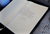 As close up of the book of condolence that United States President Barack Obama signed  at the residence of the Norwegian ambassador. .Credit: Dennis Brack / Pool via CNP