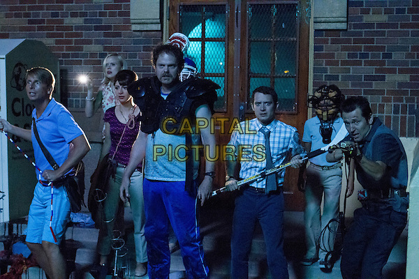 COOTIES (2014)<br /> Tracy (Jack McBrayer, far left), Lucy (Alison Pill, back left), Rebekkah (Nasim Pedrad, left center), Wade (Rainn Wilson, center), Clint (Elijah Wood, right center) and Doug (Leigh Whannell, right) <br /> *Filmstill - Editorial Use Only*<br /> CAP/FB<br /> Image supplied by Capital Pictures