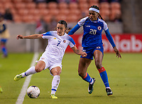 HOUSTON, TX - JANUARY 31: Melissa Herrera #7 of Costa Rica fights for the ball with Kethna Louis #20 of Haiti during a game between Haiti and Costa Rica at BBVA Stadium on January 31, 2020 in Houston, Texas.