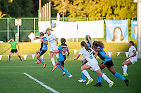 Kansas City, MO - Sunday September 11, 2016: Katie Bowen, Alyssa Mautz during a regular season National Women's Soccer League (NWSL) match between FC Kansas City and the Chicago Red Stars at Swope Soccer Village.