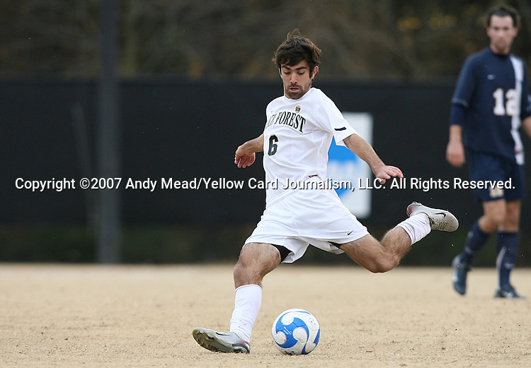 02 December 2007: Wake Forest's Austin da Luz. The Wake Forest University Demon Deacons defeated the West Virginia University Mountaineers 3-1 at W. Dennie Spry Soccer Stadium in Winston-Salem, North Carolina in a Third Round NCAA Division I Mens Soccer Tournament game.