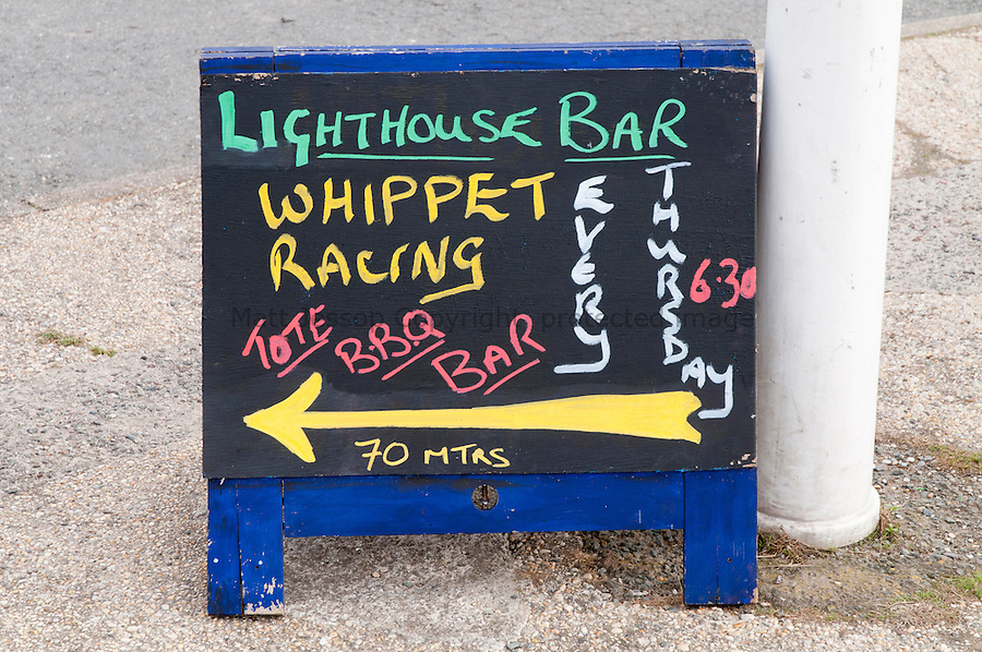 Lizard Point whippet racing sign