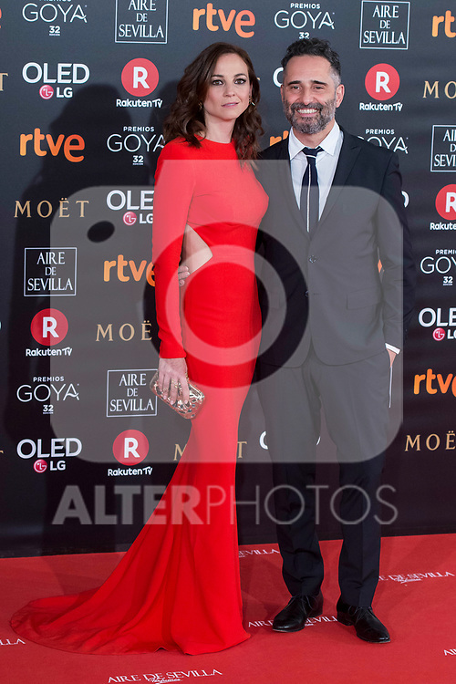 Leonor Watling and Jorge Drexler attends red carpet of Goya Cinema Awards 2018 at Madrid Marriott Auditorium in Madrid , Spain. February 03, 2018. (ALTERPHOTOS/Borja B.Hojas)