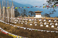 prayer flags and chorten at Dochula Pass, Bhutan